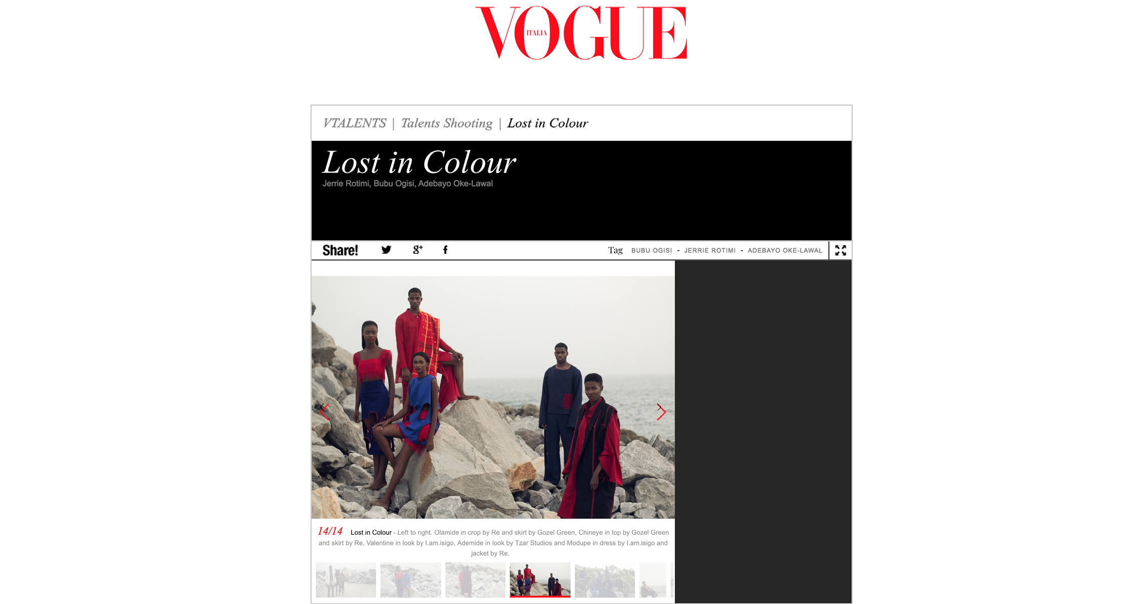 Kenneth Ize Vogue Italia African Talents. Lost in Colour. Jerrie Rotimi Bubu Ogisi Adebayo Oke-Lawal